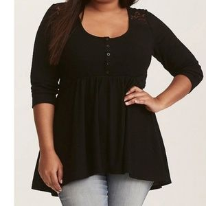 TORRID sz 5 babydoll waffle and lace tunic top nwt